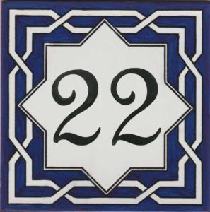 REF-038-A- Azulejo numero casa- Pintado a mano - Cerámicas Artesur