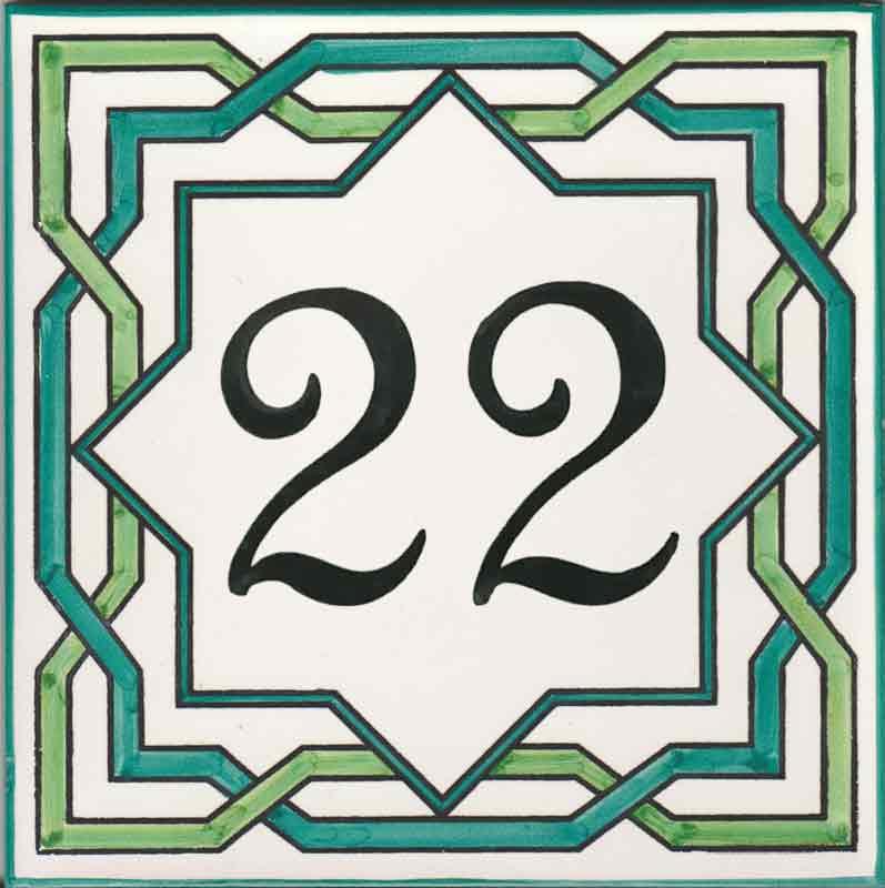 REF-038-V2- Azulejo numero casa- Pintado a mano - Cerámicas Artesur