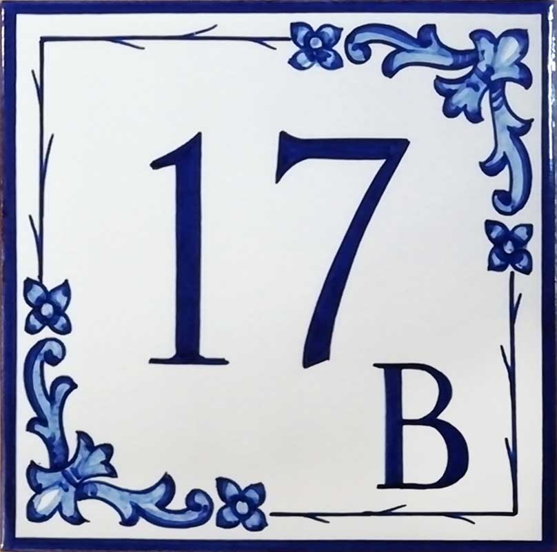 REF-055-A- Azulejo numero casa- Pintado a mano - Cerámicas Artesur