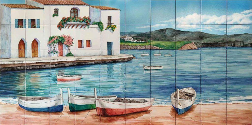 Azulejos sevillanos artesanos pintados a mano - Cerámicas Artesur - Azulejo con paisaje marino