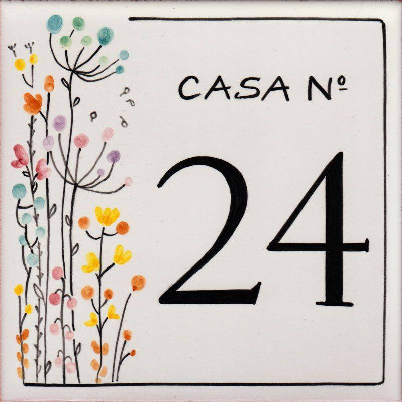 REF-057- Azulejo numero casa- Pintado a mano - Cerámicas Artesur