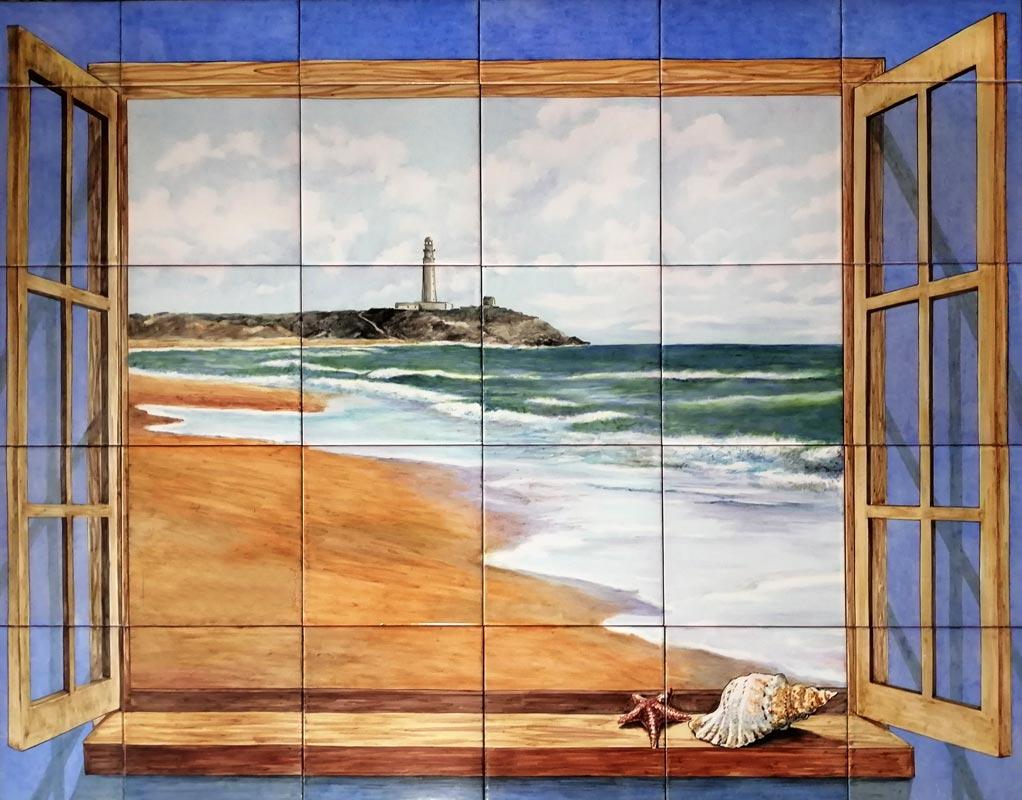 Azulejos sevillanos artesanos pintados a mano - Cerámicas Artesur - Azulejo con ventana y paisaje marino