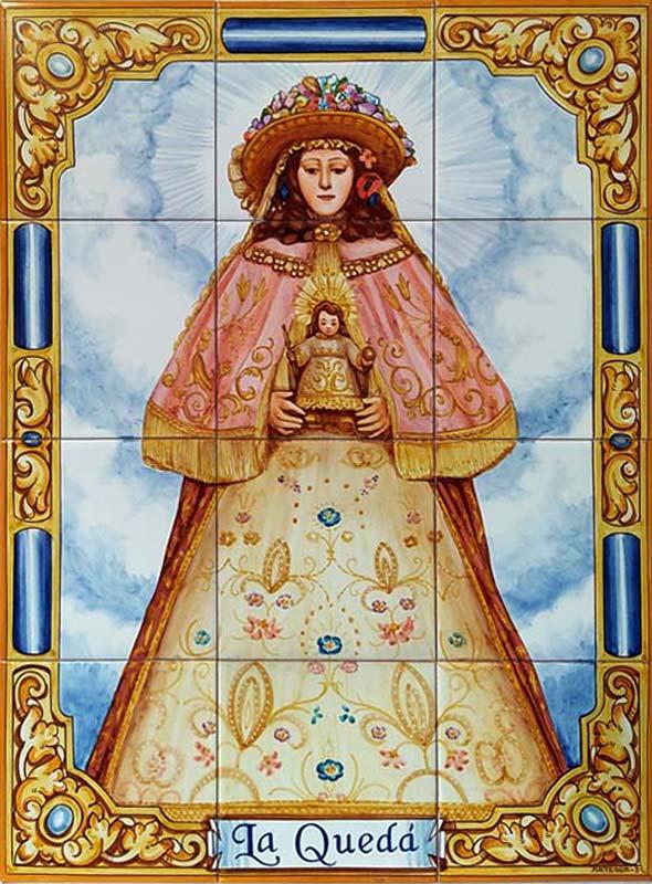 Azulejos sevillanos artesanos pintados a mano - Cerámicas Artesur - Virgen del Rocío de Pastora