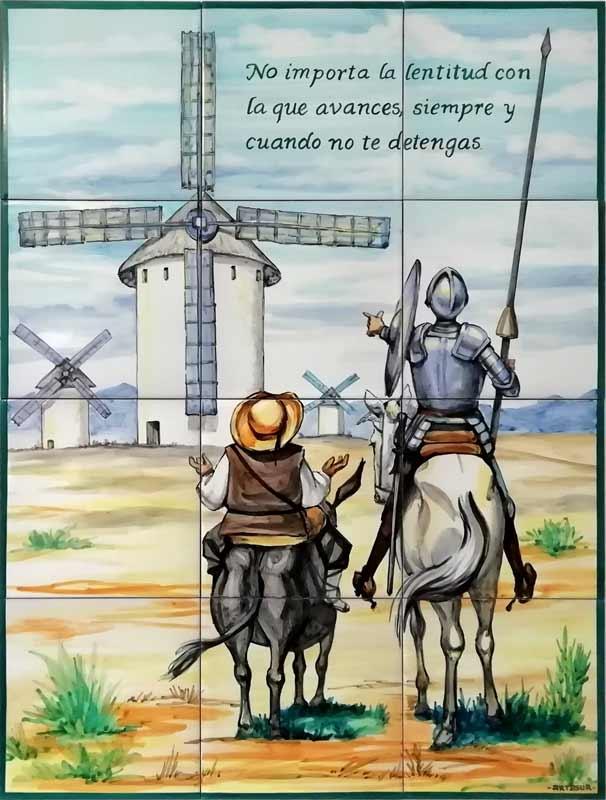 Azulejo de Quijote de la Mancha, azulejo pintado a mano. Cerámicas Artesur