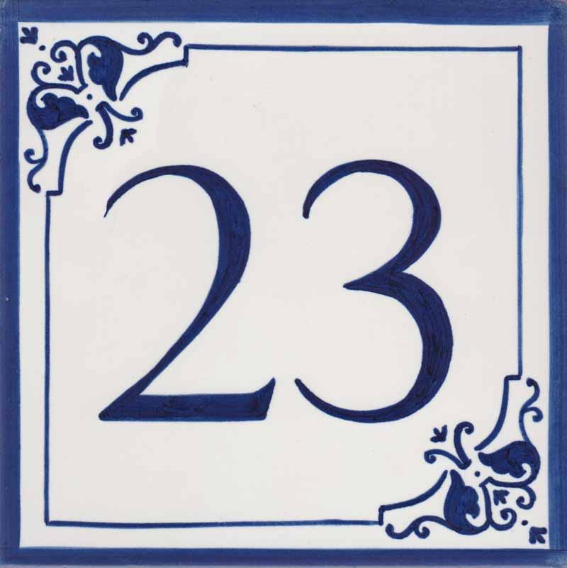 REF-058-A Azulejo numero casa- Pintado a mano - Cerámicas Artesur