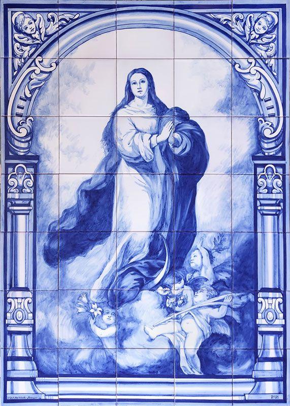 Azulejos sevillanos artesanos pintados a mano - Cerámicas Artesur - Virgen Inmaculada