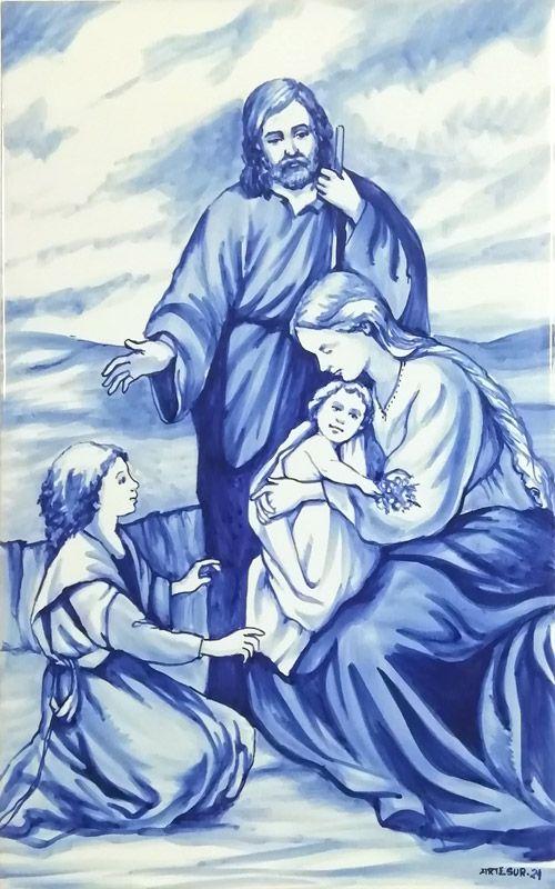 Azulejo religioso pintado a mano - Cerámicas Artesur - Sagrada Familia Nazaret