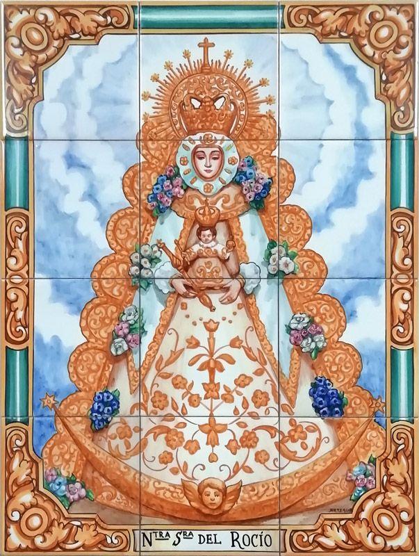 Azulejos sevillanos artesanos pintados a mano - Cerámicas Artesur - Virgen del Rocío